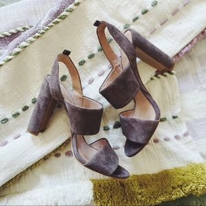 🌲Madewell Suede Slingback Heels Brown Leather